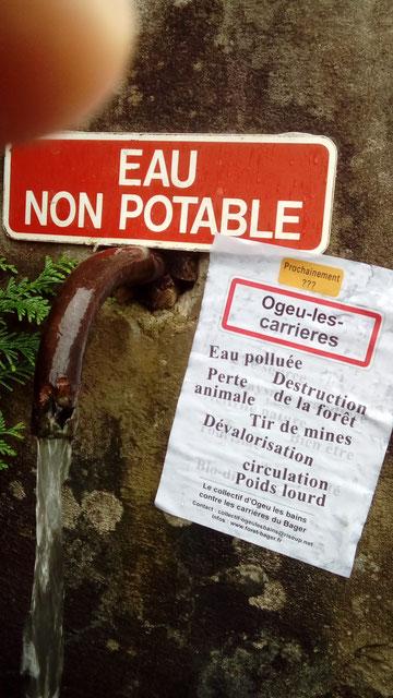 L'eau déjà non potable à Ogeu Les Bains, qu'en sera-t-il si les carrières explosent les roches sur la source ?