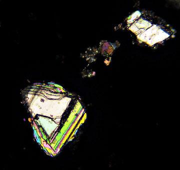 Cristalli di metolo in luce polarizzata