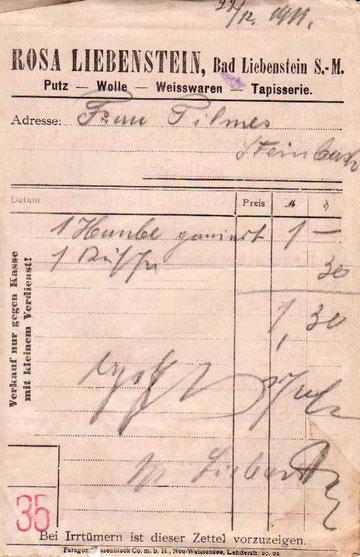 Kassenzettel vom 22.12.1911  Archiv Martina Luther