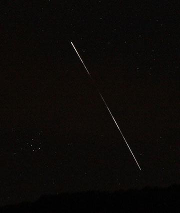 Die Raumstation ISS ist deutlich mit freiem Auge zu sehen