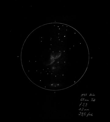 Der Orionnebel im 60mm Teleskop bei 29,5 facher Vergrößerung