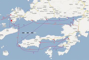 Türkeitörn 2011 - die Etappen (klicken für Vergrößerung)