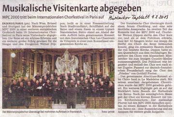 Mühlacker Tagblatt 9.2.2013, Bild anklicken zum Vergrößern