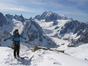 Woohoo, summit of Les Courtes and Mt Blanc view!
