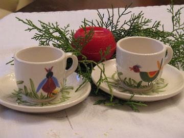 Espressotassen: Vogelparade (verkauft)