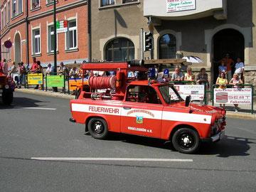 unser Trabant beim Festumzug anläßlich der 725 Jahrfeier der Stadt Auerbach