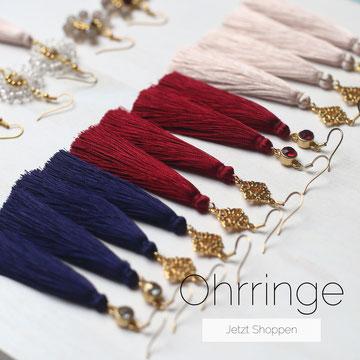Shoppe unsere handgemachten Ohrringe aus Edelsteinen oder aus Quasten in vielen verschieden Farben