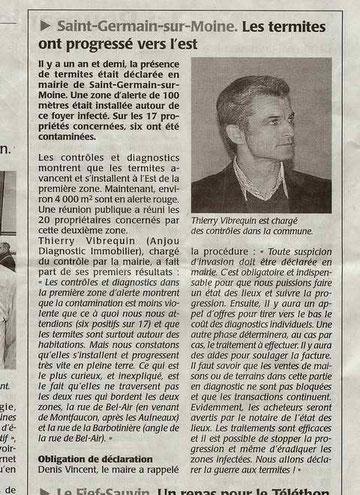 Article du Courrier de l'Ouest du 09 décembre 2011 concernant la lutte contre les termites à St Germain sur moine