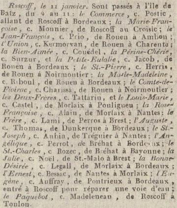 Archive exploitée, extrait du bulletin du commerce de 1822