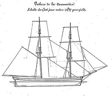 Détail du plan de voilure de la canonnière