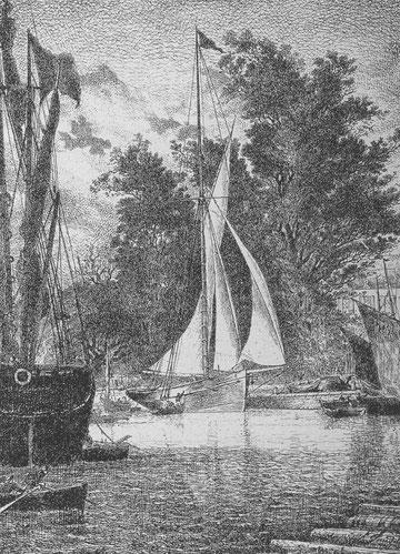 Yacht Vercingétorix à M. Vautier au bassin à Paimpol gravure de Faudacq dans la revue le Yacht