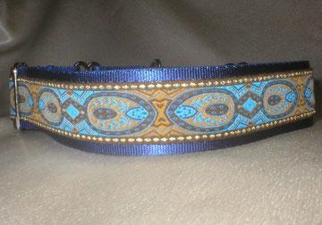 Halsband, Hund, Martingale 4cm breit, Gurtband marine-blau, Borte in blau-gold Tönen