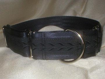 Halsband, Martingale, 4cm, schwarz, edle Borte