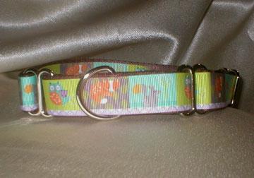 Halsband, Martingale, 2,5cm breit, mit Borte, Waldtiere