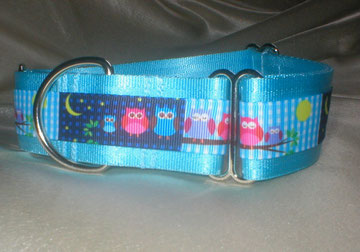 Halsband, Hund, Martingale, 4cm breit, mit Borte Eule