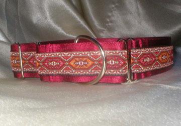 Martingale, Halsband, 4cm, Gurtband weinrot, edele Borte