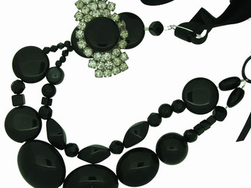 Emma Hedley Vintage brooch and Recycled Black beaded necklace