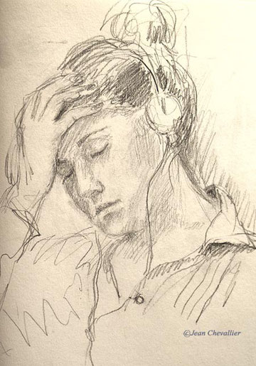 jeune femme aux écouteurs,  Jean Chevallier