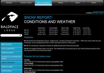 BALDFACE SNOW REPORT