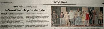 Gazzetta di Lecco. 5 marzo 2011