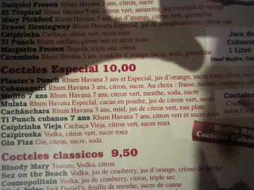 Cubana café carte des cocktails