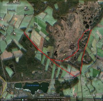 Google Bild der durch GPS aufgezeichneten Route von Detlef Herrmann