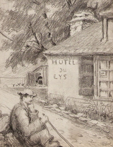 Auberge et guide de la vallée du Lys près de Superbagnère en 1929.