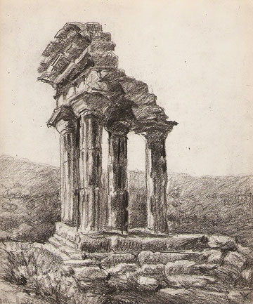 Temple de Castor et Polux à Agrigente en Sicile.