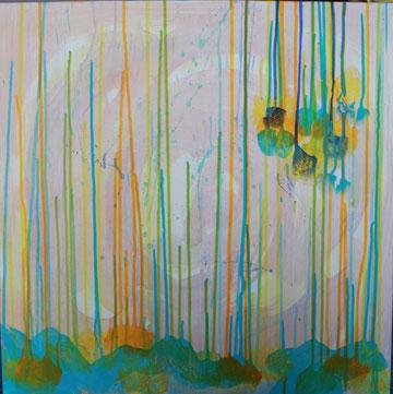 Nr. 2013-HO-004-3: 60 x 60 cm Acryl, Wachsstift, auf Leinwand, Trilogie-1