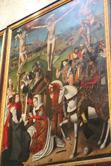 Escuela Roger van der Weyden.Tabla de la Crucifixión: Camino al Calvario, Crucifixión y Llanto sobre Cristo muerto . SXV.