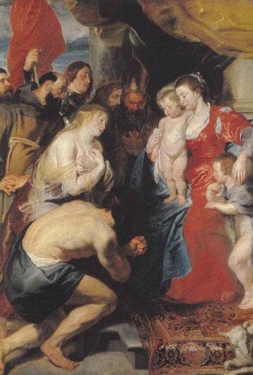 Van Dyck y Rubens.La Virgen con pecadores penitentes.La Virgen con niño y sanjuanito frente a ellos en actitud reverente el hijo pródigo,María Magdalena y el rey David personajes bíblicos a quienes se les perdonaron los pecados, S Francisco y Domingo.