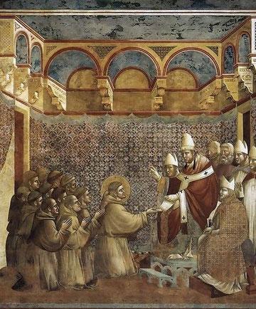 Detalle de la confirmación de la Regla de San Francisco. Giotto, Asís, 1297
