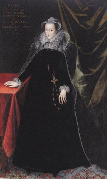 María Estuardo,reina de Escocia, anónimo inglés.204x126cm. Expresión severa y mirada triste.Su trágica vida,Isabel I de Inglaterra la mantuvo cautiva 20 años, tres veces viuda, fue ejecutada a los 45 años.
