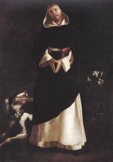 Santo Domingo de Guzman.Francisco de Zurbarán(1598-1664) Óleo sobre lienzo,105x77cm. Santo en actitud de éxtasis, juegos de luces tenebristas.Animal desproporcionado firma de su taller. Ensimismamiento y gran espiritualidad.