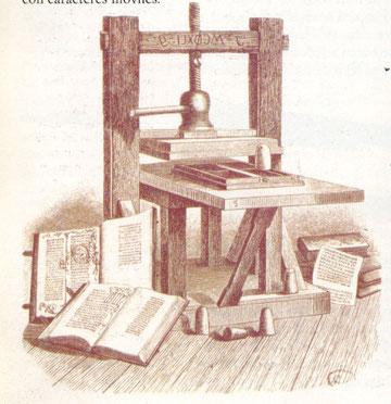 Gutenberg,SXV,inventó la imprenta, instrumento para la comunicación de las nuevas ideas.