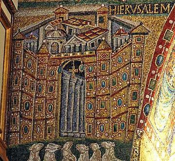 Representación de la Jerusalen celeste, bajo la ciudad ovejas, almas bienaventuradas que quieren entrar en la ciudad.
