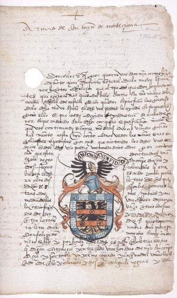 Escudo de armas de Don Martin Moctezuma, hijo  primogénito de Moctezuma y curiosa cédula por pacificar las provincias de Nueva España, apoyando a H.Cortés en la empresa.