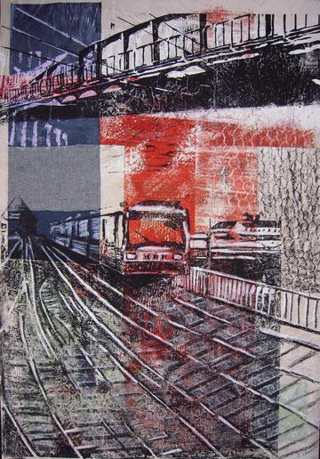 Baumwall, Holzschnitt und Mischtechnik auf Papier, 70x100, 2012