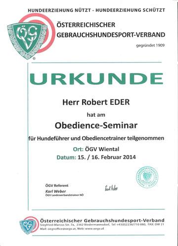 Obedience Seminar mit Karl Weber 15.+16.02.2014