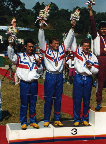 1988 Seoul: Great Britain's bronze medallists -Brookhouse, Phelps and Mahony
