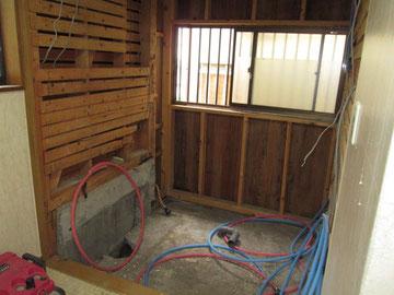 施工途中の浴室