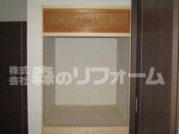お仏壇上部の彫刻部分を新たな仏壇上部へ取付