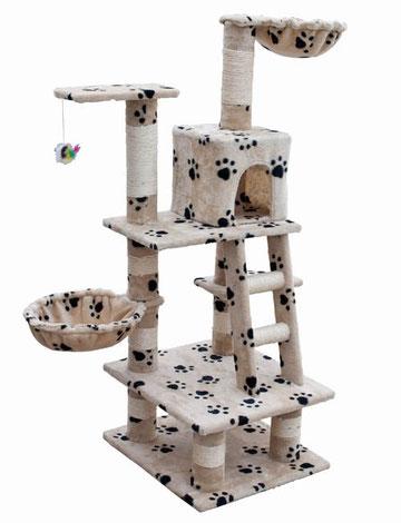 Arbre à Chat Modèle ALBA en Beige motif Pattes de chat
