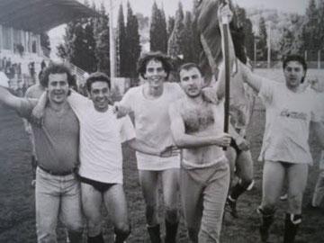 Luongo, Drago, Costantini e Biffi festeggiano coi tifosi