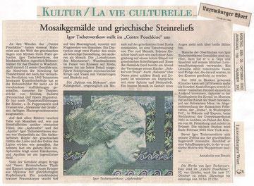 Russische Malerei: Igor Tschetwertkow. Luxemburger Wort, 20.10.2003