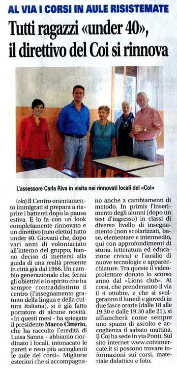 """Da """"Il Giornale di Vimercate"""", 14/09/2010"""