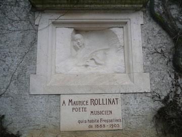 """""""Dernière vision"""", bas-relief d'Auguste Rodin enchâssé dans le mur de l'église de Fresselines."""