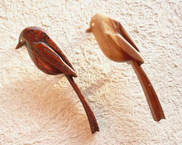 エナガのブローチ2種