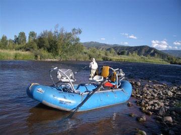 Warwick pesca durante una sosta – Roaring Fork River