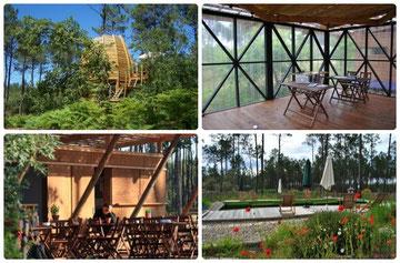 Cabane, salle de réunion, wifi, restaurant en terrasse et piscine naturelle